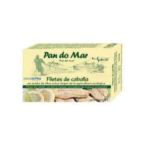 Filetes de Caballa en Aceite de Oliva ecológico, 90 gr. Escurrido, Pan Do Mar